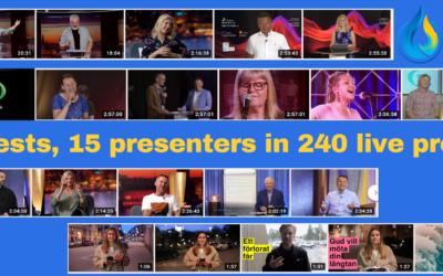 480 Gäster, 15 Programledare i 240 Livesända program